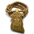 Gold Wood Jesus Necklace Pendant Hip Hop Chain WJ1G