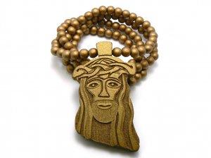 Gold Wood Jesus Necklace Pendant Hip Hop Chain WJ1G