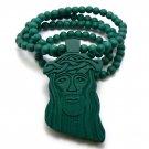 Green Wood Jesus Necklace Pendant Hip Hop Chain WJ1GN