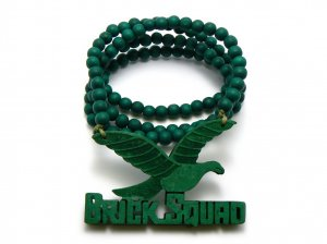 Green Wood Brick Squad Necklace Pendant Soulja Boy WJ15GN