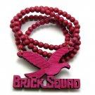 Pink Wood Brick Squad Necklace Pendant Soulja Boy WJ15PK