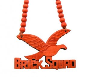 Red Wood Brick Squad Necklace Pendant Soulja Boy WJ15RD