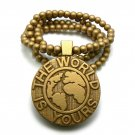 Gold Wood World Is Yours Scarface Necklace Pendant WJ18G
