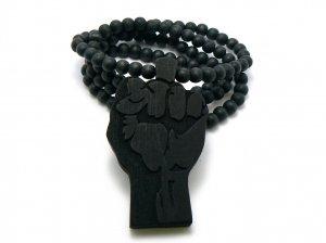 Black Wood Flat Power Fist Necklace Pendant Piece WJ29BK