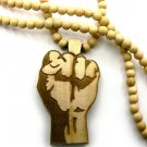 Natural Wood Flat Power Fist Necklace Pendant Piece WJ29NL