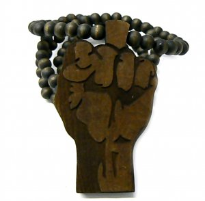 Brown Wood Flat Power Fist Necklace Pendant Piece WJ29BN