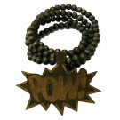 Brown Wood POW! Necklace Pendant Hip Hop Piece WJ33BN