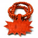 Red Wood POW! Necklace Pendant Hip Hop Piece WJ33RD