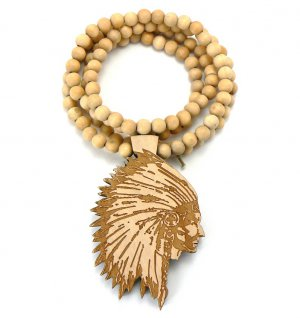 Natural Wood Indian Chief Necklace Pendant WX15NL