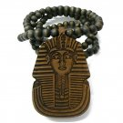Brown Wood Sphynx Pharaoh Egyptian Necklace Pendant WJ50BN