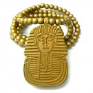 Gold Wood Sphynx Pharaoh Egyptian Necklace Pendant WJ50G