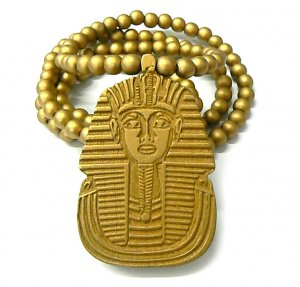 Gold Wood Sphynx Pharaoh Egyptian Necklace Pendant WJ50G