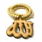 Natural Wood Allah Islam Beaded Necklace Pendant WJ75NL