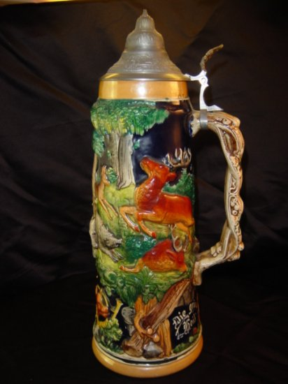 GERMAN STEIN 1032 Stag and Boar Stein  Hunt Theme Stein