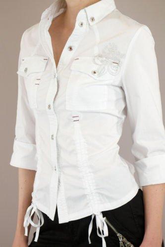 MurMur 3/4 Sleeve White Button Down Small Shirt