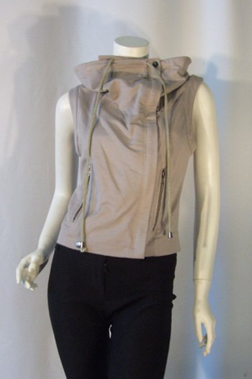 Small RYU Beige Squared Neck Sleeveless Jersey Jacket