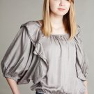 Ryu Silver Modern Peasant Small Blouse