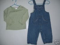 2 piece set  Janie and Jack Dragonfly Dream Overalls Top 12 18
