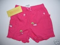 NWT Gymboree JUNGLE GYM Pink Hippo Shorts 0 3