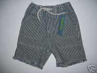 NWT Gymboree SURF CAMP Boy Strip Denim Shorts 12-18