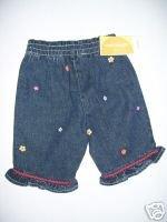 NWT Gymboree FIESTA FIESTA Denim Flower Jeans 3-6 m