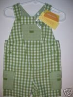 NWT Gymboree TINY POND Green Gingham Overalls 6-12 m