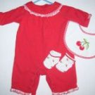 Excellent Used Condition Gymboree Good Old Days Cherry Outfit , Bib & Socks 0 3