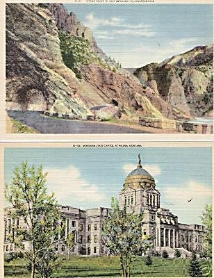Lot of 2 GIANT Postcards Helena Mont / Yellowstone Park