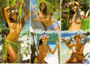 Girls of the South Seas-Topless Tahiti Girls - Card 29