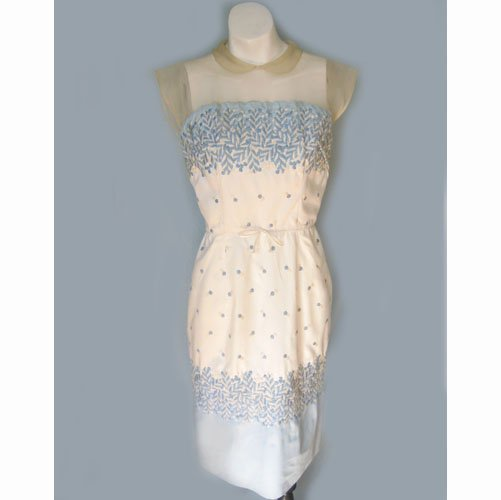 1950's Baby Blue Embroidered Wiggle Dress