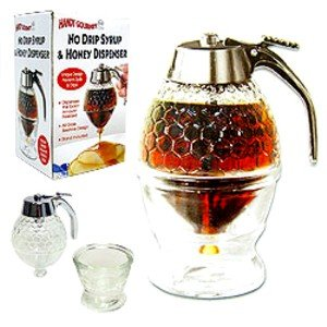 No Drip Syrup & Honey Dispenser Dripless Glass NEW