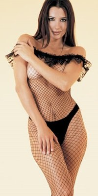 SEAMLESS FISHNET NET LONG SLEEVE BODY STOCKING with RUFFLE TOP LA8808