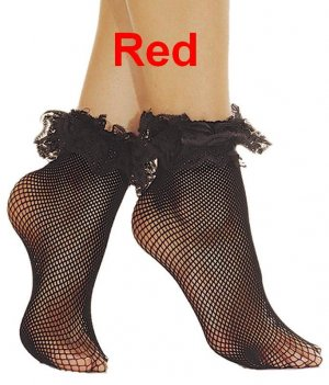 Fishnet Ankle Socks With Ruffle Lace Top. ML397 (Red)