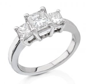 3 stone style Diamond Engagement Ring