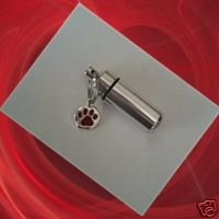 Silver/Chrome PET Cremation Urn & Vial with RED PAW Charm Keychain