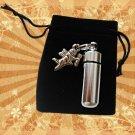 2 Silver Cremation Urn Keychain w/ANGELS & Velvet Pouch