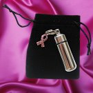TWO Cremation Urn Vial w/Breast Cancer Awareness Charm
