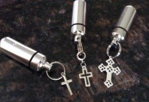 Trio of Assorted Silver Cross Cremation Urn Memorial Keepsakes