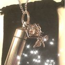 "Beautiful SILVER ROSE Cremation Urn 24"" NECKLACE Memory Keepsake & Pouch"