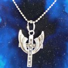"Large Silver Cross with Angel Wings Pendant on 24"" Ball Chain NECKLACE"
