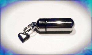 FIVE Wholesale Silver Puffed Heart CREMATION URN Keepsake Keychains