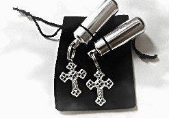 Set of TWO Filigree Silver Cross CREMATION URN Memorial Keepsakes & Velvet Pouch