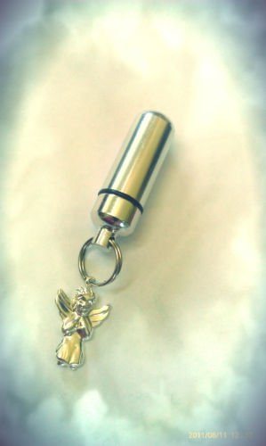 TWO Silver CREMATION URN Keepsake with Praying Angel Charms