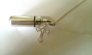 PILL HOLDER NECKLACE Vial with Silver Filigree CROSS
