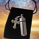New PILL HOLDER Keychain with SILVER CROSS