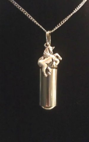 "NITRO PILL HOLDER 18"" NECKLACE with Inner Vial & Silver UNICORN with Velvet Pouch"