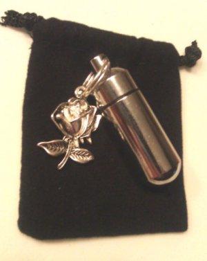Personal CREMATION URN Keepsake Locket with Silver ROSE & Velvet Pouch