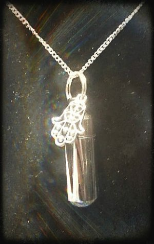 "Inspirational Hand of God ANOINTING OIL VIAL 18"" NECKLACE & Velvet Pouch"