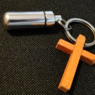 New Cremation Urn Keepsake Keychain with Real Wood Cross
