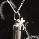 "Wonderful Silver Dragonfly CREMATION URN 18"" NECKLACE Memorial Keepsake"